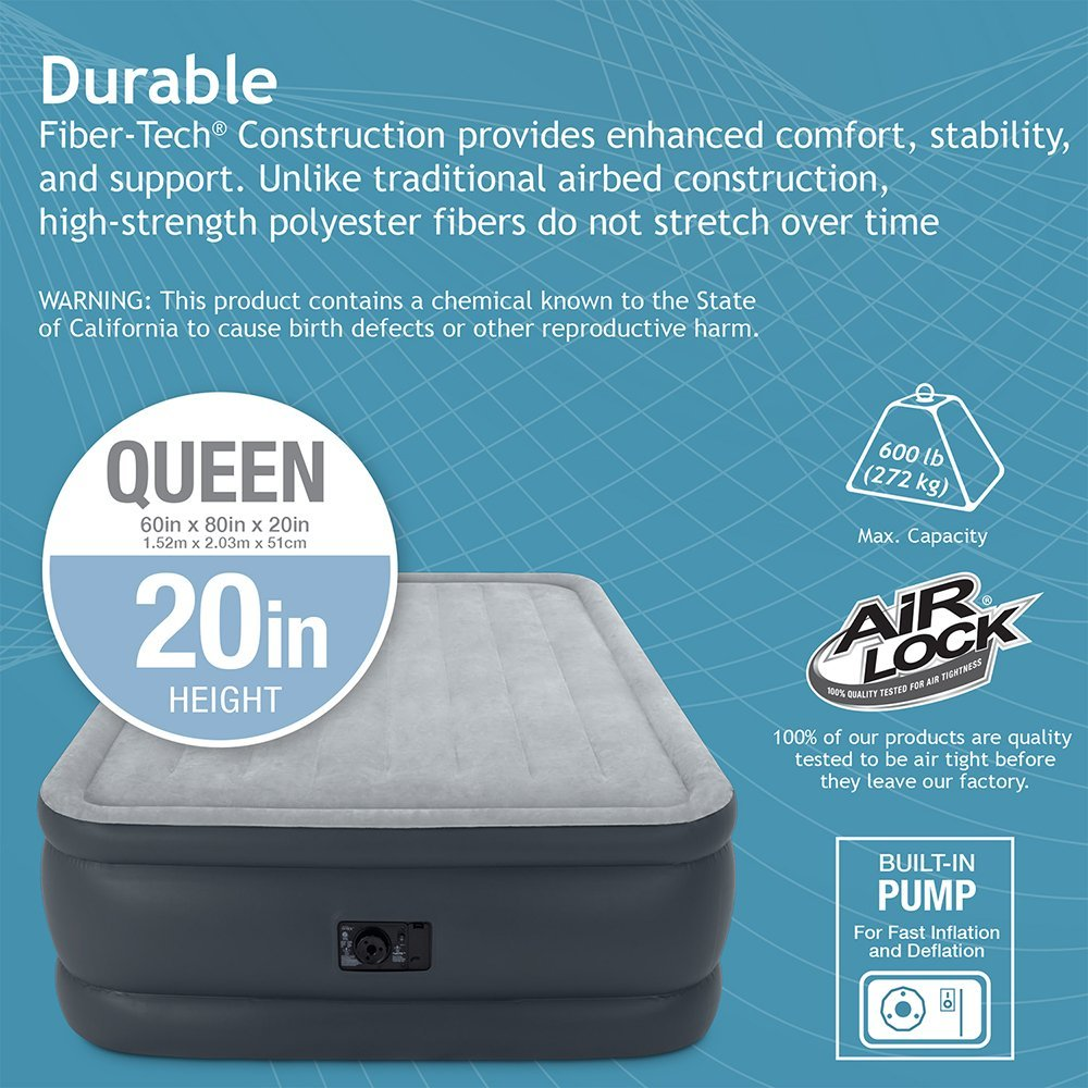 Intex Queen 22″ DuraBeam High Rise Air Mattress with Built-in Pump